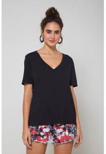 Camiseta Decote V Basic - Oh, Boy! Feminina - Feminino-Preto