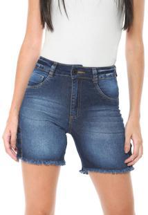 Bermuda Jeans Biotipo Slim Botões Azul