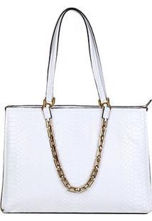 Bolsa Couro Luz Da Lua Shopper Mamba Corrente Feminina - Feminino-Branco+Dourado