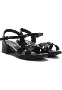 Sandália Comfortflex Salto Baixo Tira Cruzada Feminina - Feminino-Preto