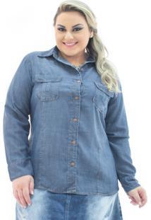 Camisa Jeans Feminina Manga Longa Com Bolsos Plus Size