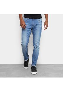 Calça Jeans Skinny Rock Blue Skinny Estonada Elastano Masculina - Masculino