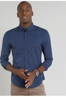 Camisa Masculina Slim Estampada Mini Print De Poás Manga Longa Azul Marinho