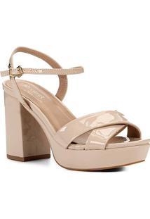 Sandália Shoestock Meia Pata Verniz Naked Feminina - Feminino-Macadamia