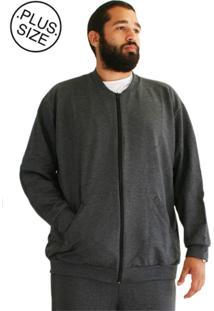 Blusa Plus Size Moletom Bigmen Cinza