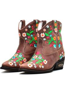 Bota Country Bordado Floral Capelli Café