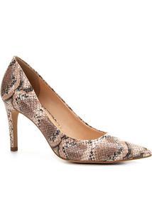 Scarpin Couro Shoestock Salto Alto Snake - Feminino