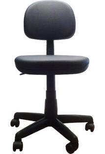 Cadeira Secretária Giratória Em Corino Com Base Preta Plaxmetal - Preto