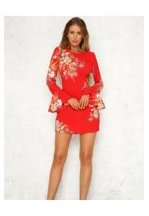 Vestido Curto Com Estampa Floral Manga Sino - Vermelho