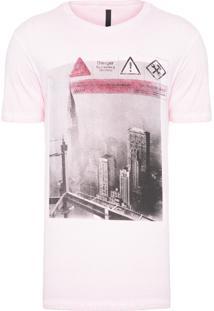 Camiseta Masculina Dupla Face Laterais - Rosa