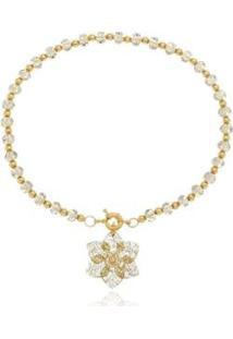 Colar Le Diamond Cristal Com Fecho Boia E Camélia Dourada - Feminino-Dourado