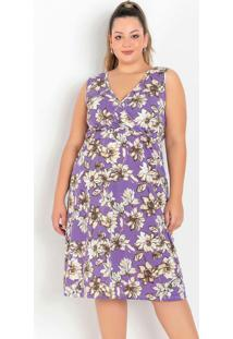 Vestido Floral Com Transpasse Plus Size