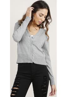 Cardigan Feminino Básico Cropped Em Tricô Cinza Mescla