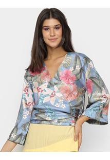 Blusa Vida Bela Kimono Feminina - Feminino-Azul