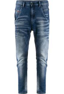 Diesel Calça Jeans Cenoura Cintura Alta - Azul