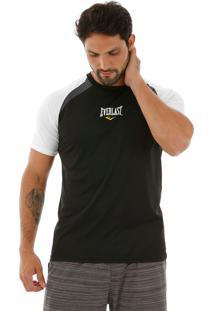 Camiseta Dry Everlast Raglan Preto E Branco