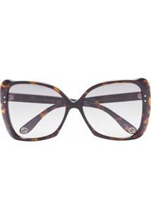 Gucci Eyewear Óculos De Sol Oversized Quadrado Havana - Cinza