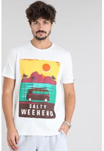 "Camiseta Masculina Flamê ""Salty Weekend"" Manga Curta Gola Careca Off White"