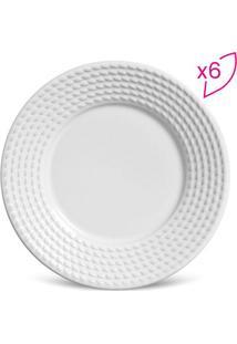 Jogo De Pratos Para Sobremesa Olímpia- Branco- 6Pçs