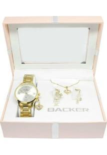 Kit Relógio + Berlocks + Corrente 106460062 Ch Backer Feminino - Feminino-Dourado