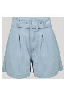 Bermuda Jeans Feminina Alfaiatada Com Bolsos E Cinto Cintura Alta Azul Claro