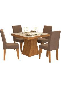 Conjunto De Mesa Olivia Para Sala De Jantar Com 4 Cadeiras Milena- Cimol - Savana / Off White / Chocolate