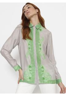 d11fdeec90 ... Camisa Em Seda Com Arabescos - Cinza   Verdeversace Collection