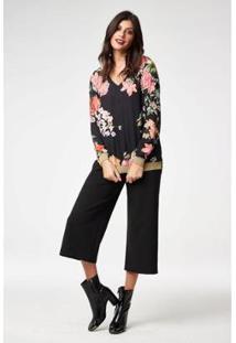 Blusa Floral Alongada Feminina - Feminino