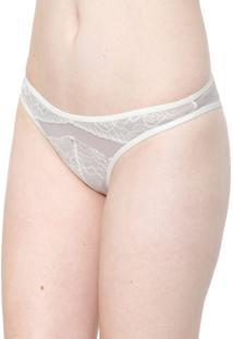 Calcinha Calvin Klein Underwear Tanga Marbella Off-White