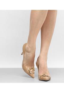 Scarpin Shoestock Salto Alto - Feminino-Nude