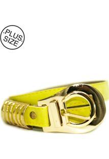 Cinto Feminino Plus Size - Confidencial Extra Color Com Fivela Dourada - Amarelo