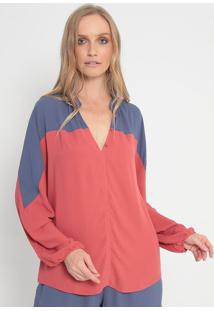 Blusa Com Recorte - Rosa & Azul Escuromorena Rosa