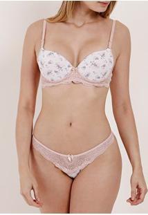 Conjunto De Lingerie Feminino Branco/Rosa