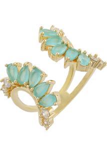 Anel Narcizza Semijoias Aberto Na Frente Com Detalhes Em Gotinhas Turmalina E Micro Zircônia Cristal Ouro