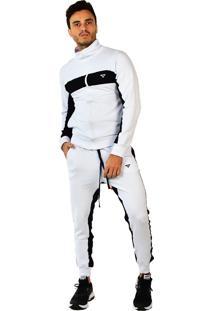 Conjunto Brohood Calça E Jaqueta De Moletom Listra Branco