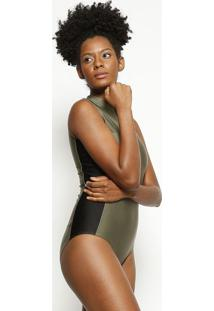 Body Com Recortes- Verde Militar & Preto- Body For Sbody For Sure