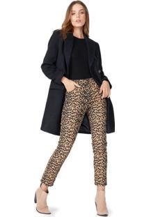 Calça Jeans Skinny Leopard