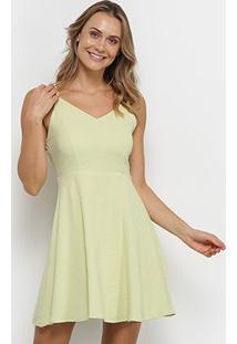 Vestido Curto Yutz Alças Cruzadas Costas - Feminino-Verde
