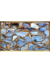 Quadro Decorativo Quartzo Azul- Dourado & Azul- 60X8Arte Prã³Pria