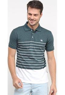Camisa Polo Gajang Bicolor Listras Masculina - Masculino-Verde
