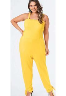 Macacão Almaria Plus Size Munny Liso Amarelo