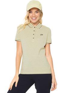 Camisa Polo Lacoste Slim Listrada Amarela/Preta