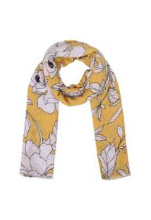 Xale- Pashmina- Algodao Floral- Amarelo
