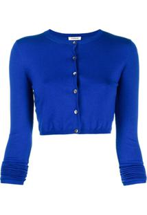 P.A.R.O.S.H. Cropped Long Sleeve Cardigan - Azul