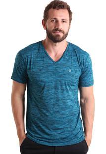 Camiseta Gola V Mescla - Azul Petróleo