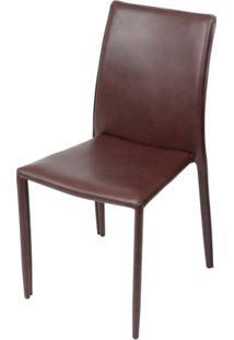 Cadeira Bali Estofada Couro Ecologico Bordo - 51805 Sun House