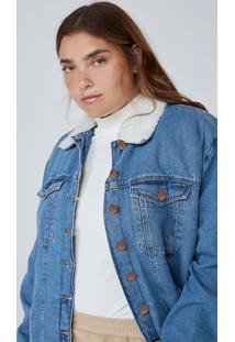 Jaqueta Feminina Trucker Em Jeans Gola E Corpo Com Pelo - Azul