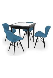 Conjunto Mesa De Jantar Em Madeira Preto Prime Com Azulejo + 4 Cadeiras Slim - Turquesa
