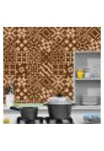 Adesivo De Azulejo Geometricos Café 10X10Cm