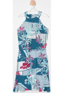 Vestido Floral Com Amarração- Branco & Azul- Malweemalwee